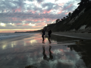 Sophomore girls Kelly Bickett and Kendall White dance at Hope Ranch Beach